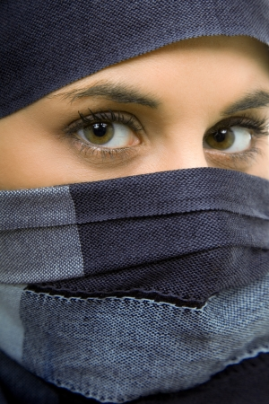 muslim girl: young woman with a veil, close up portrait, studio picture Stock Photo