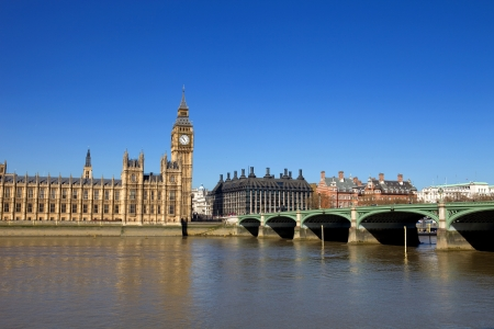 London view, Big Ben, Parliament, bridge and river Thames photo