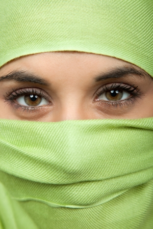 young woman with a veil, close up portrait, studio picture Stock Photo