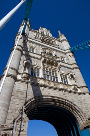 Detail of the tower bridge of London, England