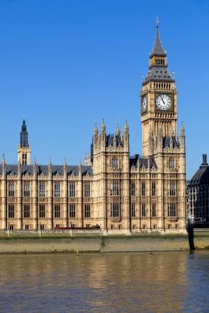 thames: London view, Big Ben, Parliament, bridge and river Thames Stock Photo