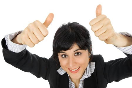 young business woman portrait going thumbs up, isolated on white Stock Photo - 14903670
