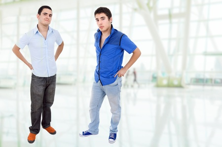 two young happy teenagers standing photo