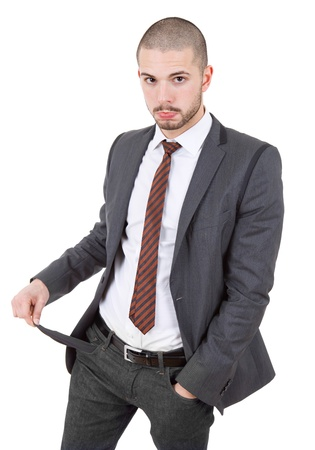 business man showing his empty pocket, isolated Stock Photo - 15045349