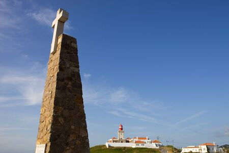 roca: white cross, in cape of Roca - Cabo Roca - the western point of Europe