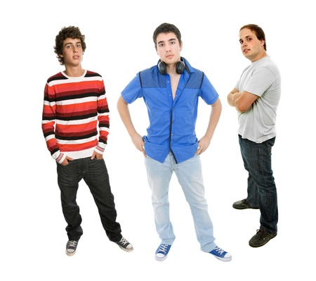three young man full length, isolated on white Stock Photo