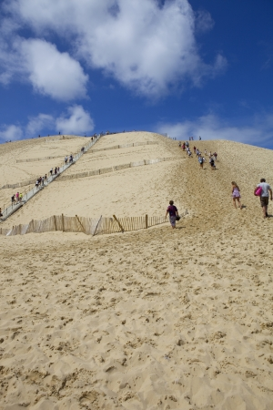 People visiting the Famous dune of Pyla, the highest sand dune in Europe, France.