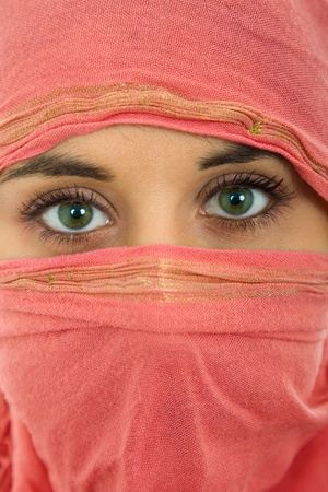 young woman with a veil, close up portrait, studio picture Stock Photo - 15460361