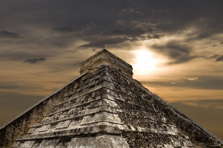 Ancient Mayan pyramid, Kukulcan Temple at Chichen Itza, Yucatan, Mexico photo