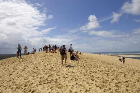 People visiting the Famous dune of Pyla, the highest sand dune in Europe, on August 8, 2012 in Pyla Sur Mer, France.