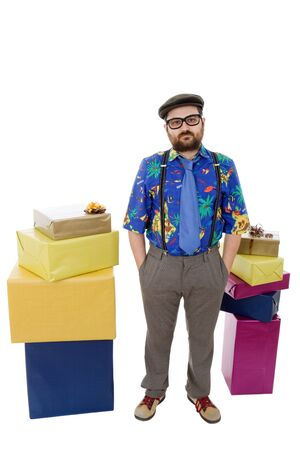 crazy man: happy silly salesman with some boxes, isolated on white