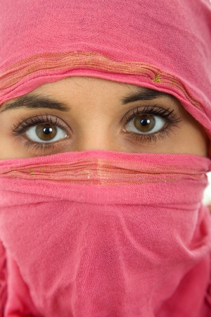 young woman with a veil, close up portrait, studio picture Stock Photo - 15558347