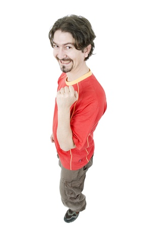 happy spanish man supporter, isolated on white Stock Photo - 15624128