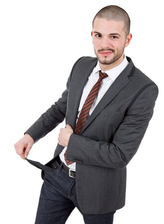 business man showing his empty pocket, isolated photo