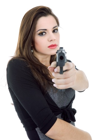 young beautiful woman with a gun, isolated Stock Photo - 15784340