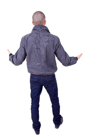 young casual man from the back, full body, isolated photo