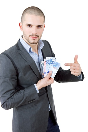 young casual man with lots of money photo