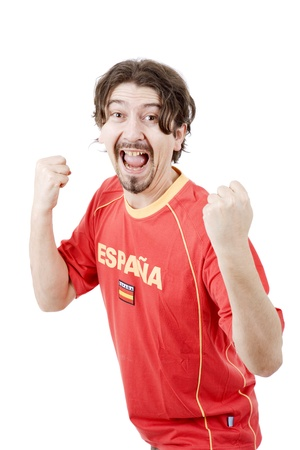 happy spanish man supporter, isolated on white Stock Photo - 16114781