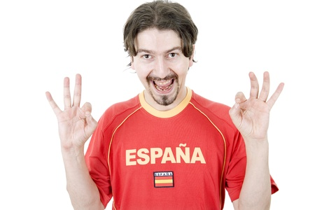 happy spanish man supporter, isolated on white Stock Photo - 16142334