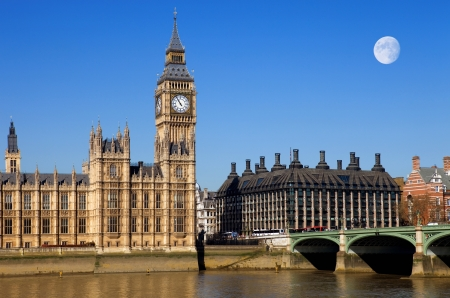 London view, Big Ben, Parliament, bridge and river Thames Stock Photo