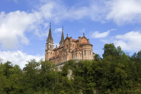 covadonga: The old cathedral of Covadonga in Asturias, Spain
