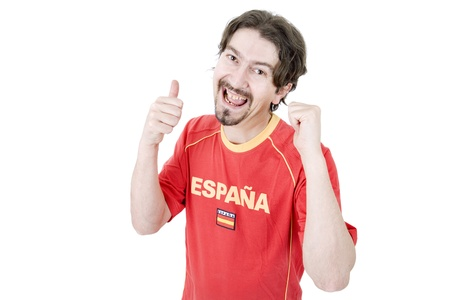 happy spanish man supporter, isolated on white Stock Photo - 16301639