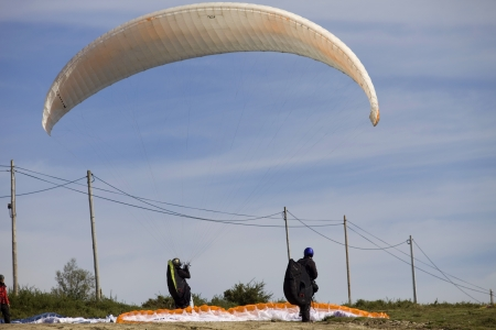 Paragliding Aboua Cup, in the north of Portugal, October 13, 2012, Caldelas, Portugal. Stock Photo - 16532314
