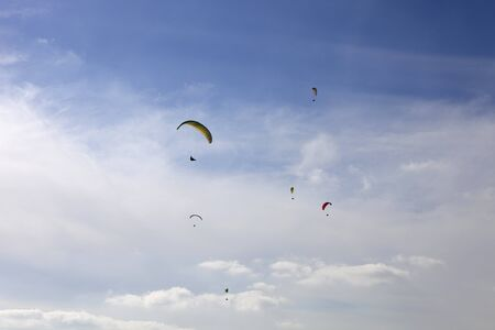 Paragliding Aboua Cup, in the north of Portugal, October 13, 2012, Caldelas, Portugal. Stock Photo - 16838407