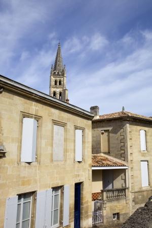saint emilion: saint emilion architecture, in aquitaine, france