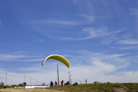 Paragliding Aboua Cup, in the north of Portugal, October 13, 2012, Caldelas, Portugal. Stock Photo - 17062925