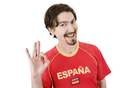 happy spanish man supporter, isolated on white Stock Photo - 18574803