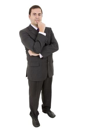 adolescente pensando: cuerpo joven hombre de negocios totalmente aislado sobre fondo blanco