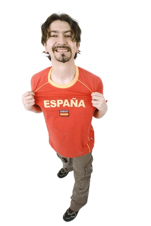 happy spanish man supporter, isolated on white Stock Photo - 19226518
