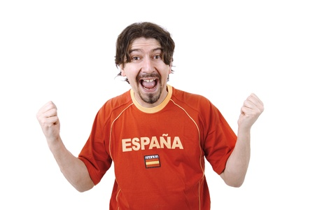 happy spanish man supporter, isolated on white Stock Photo - 20110793