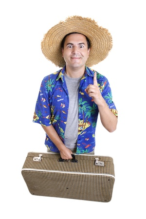 young silly man traveler, full body, isolated photo