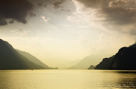 Lake in Brienz at the mountains, in Switzerland photo