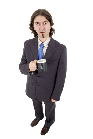 young businessman, full body, with a cup of milk, isolated photo