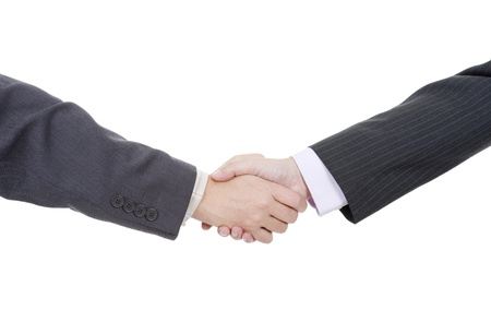 two businessmen in a handshake, isolated on white photo