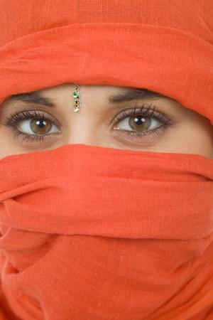 girl face close up: young woman with a veil, close up portrait, studio picture Stock Photo