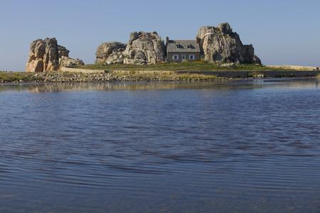 cote de granit rose: famous house on the rocks at ploumenach, cote de granit rose, cotes d