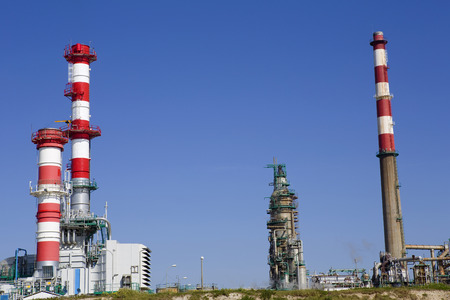 Industrial power plant and oil refinery at Porto, portugal photo