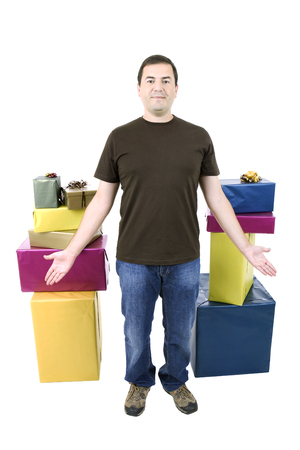 happy silly salesman with some boxes, isolated on white photo