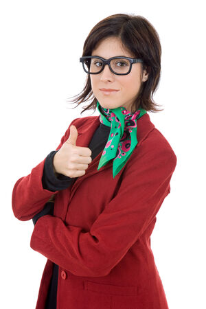 young business woman portrait isolated going thumb up photo