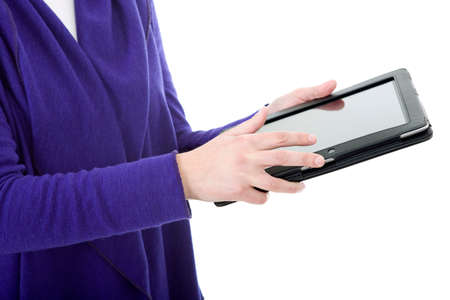 businesswoman showing a tablet pc, isolated photo
