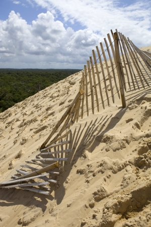 The Famous dune of Pyla fences, the highest sand dune in Europe, in Pyla Sur Mer, France. photo