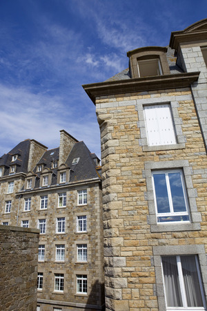 st  malo: typical intra muros st malo houses, brittany, france