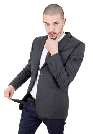 empty pocket: business man showing his empty pocket, isolated