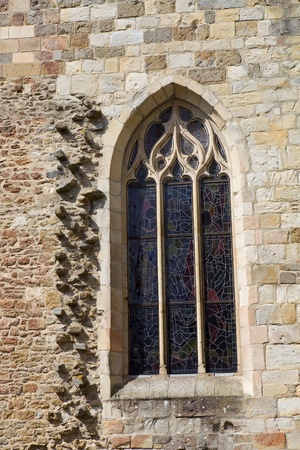 st  malo: st malo cathedral window detail, in the north of france Stock Photo