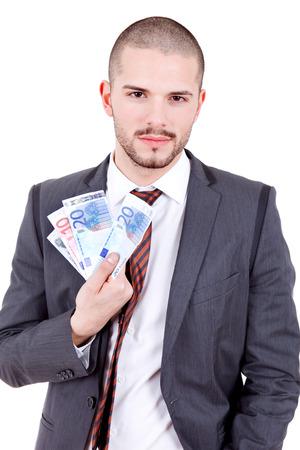 remuneraci�n: hombre feliz empresa joven con dinero, aislado Foto de archivo
