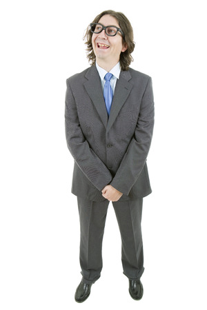 stupid body: happy young businessman full length, isolated on white